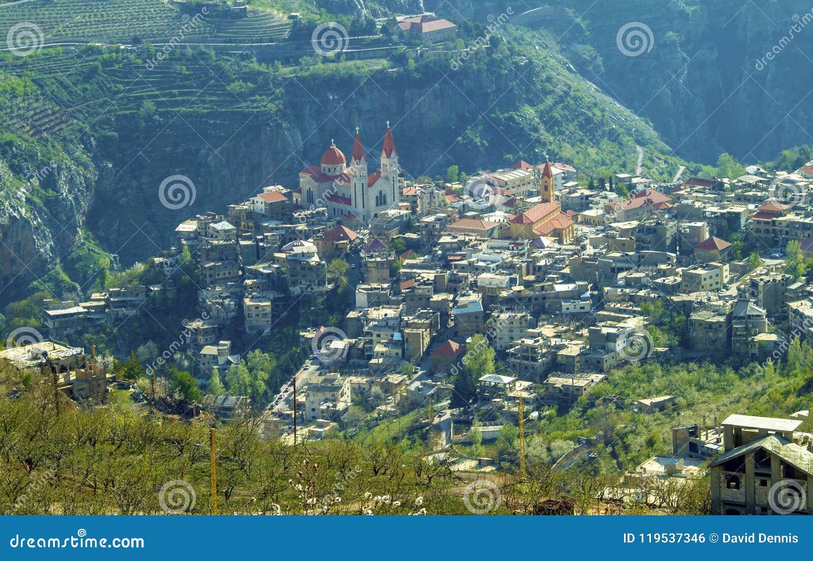 The beautiful mountain town of Bcharre in Lebanon