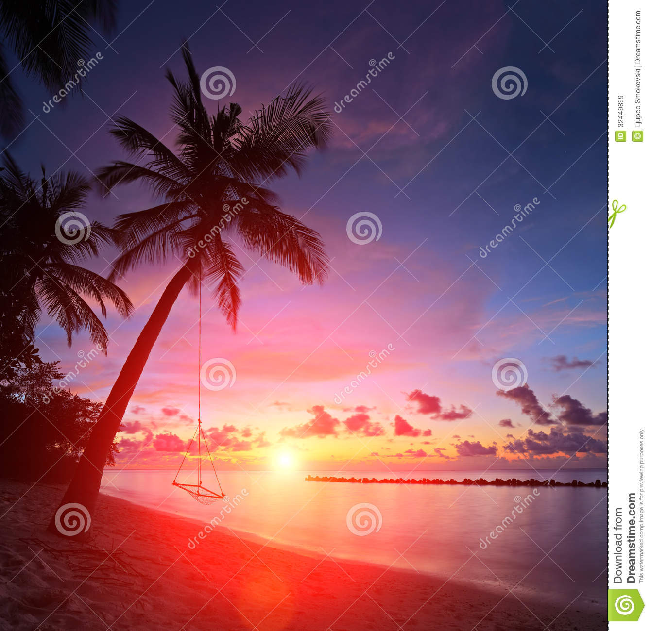 beach sunset with palm trees. view of a beach with palm trees and swing at sunset maldives royalty free stock images image 32449899
