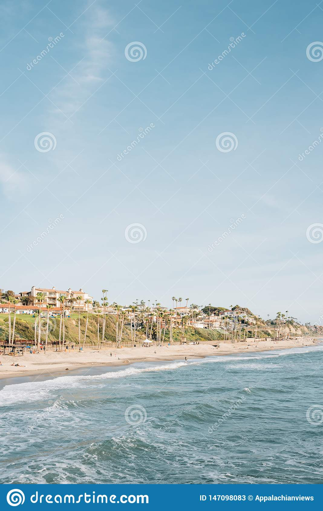 View of the beach from the pier in San Clemente, Orange County, California