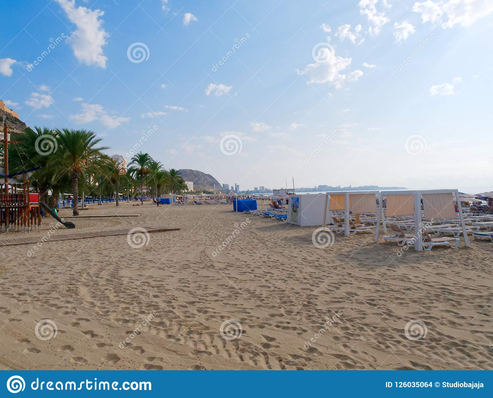 View of the beach Playa del Postiguet in Alicante. Spain.