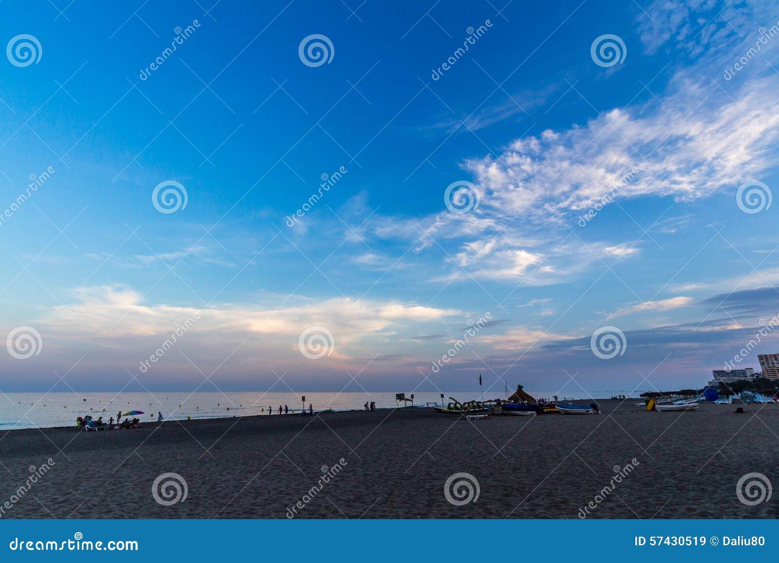 View of Beach in Torremolinos in evening