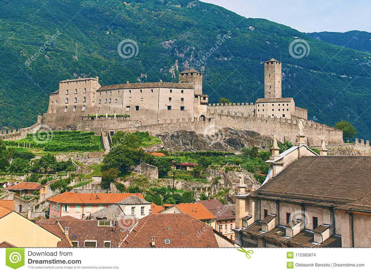 View of beautiful city of Bellinzona in Switzerland with Castelgrande castle from Montebello