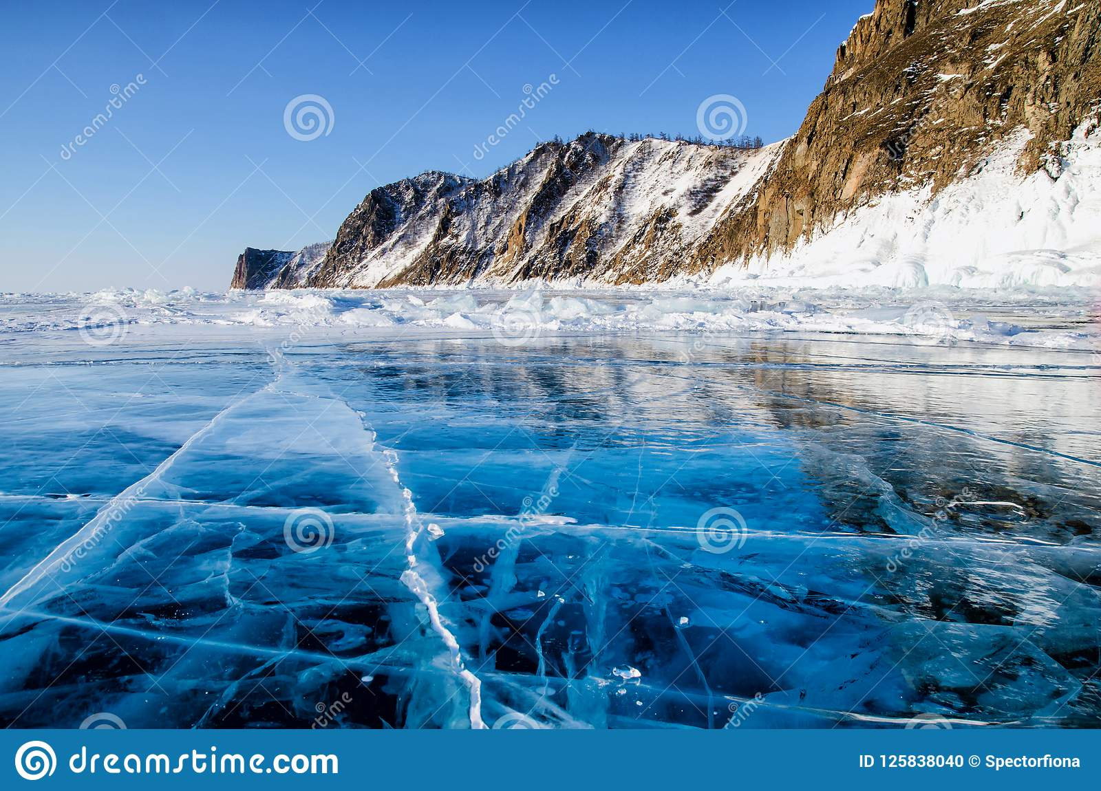 View Of Beautiful Drawings On Ice From Cracks And Bubbles Of Deep