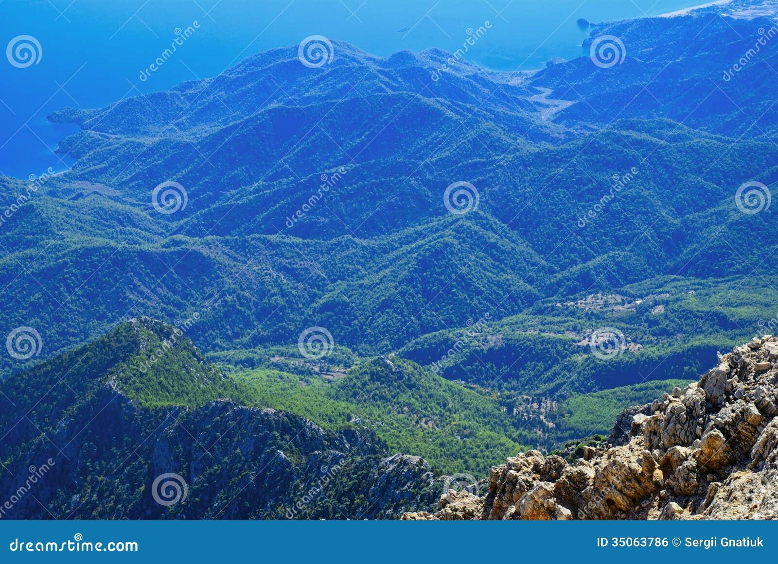 View of a beautiful green mountain range