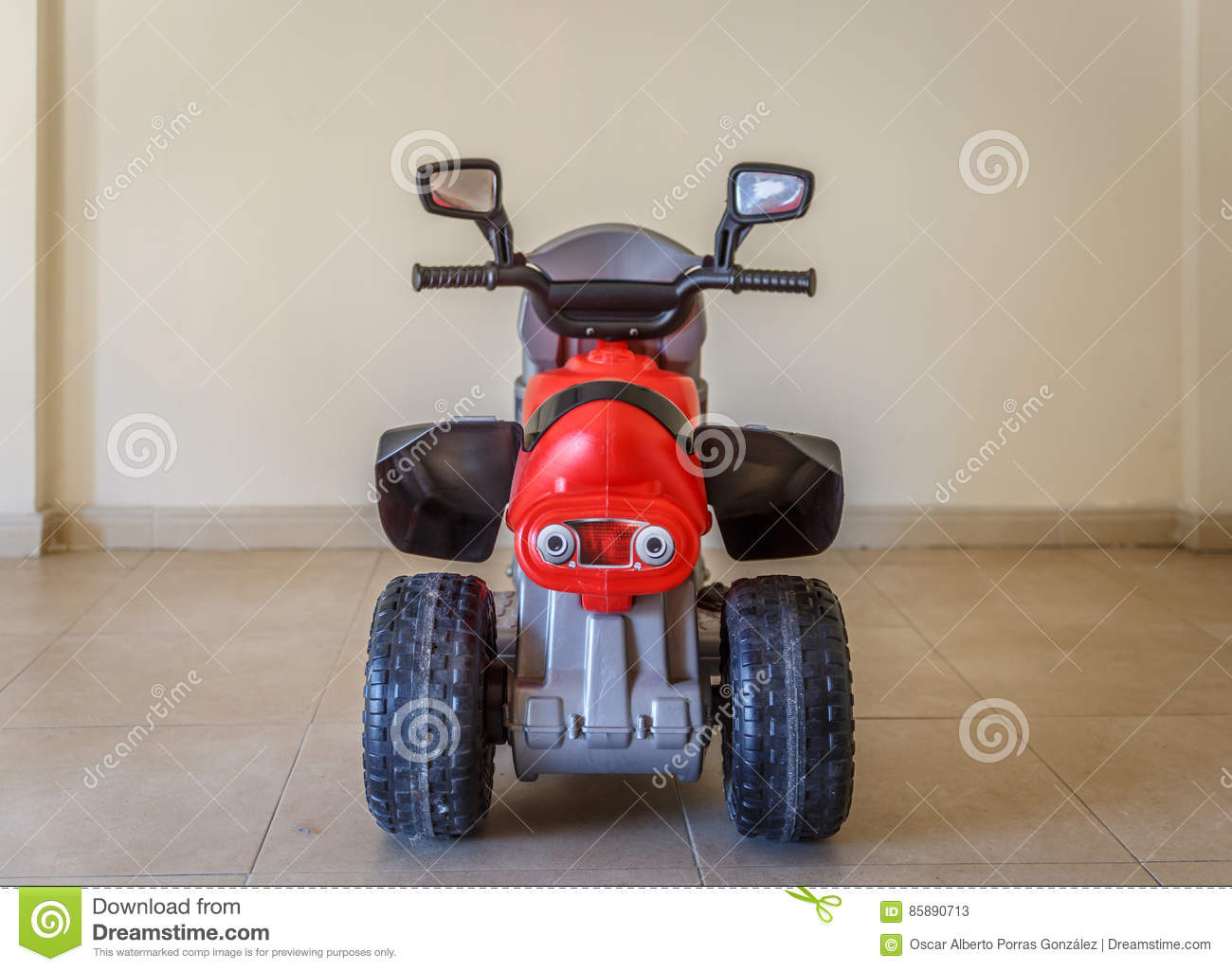 View From Behind Of A Toy Motorcycle, In The Living Room Of ...