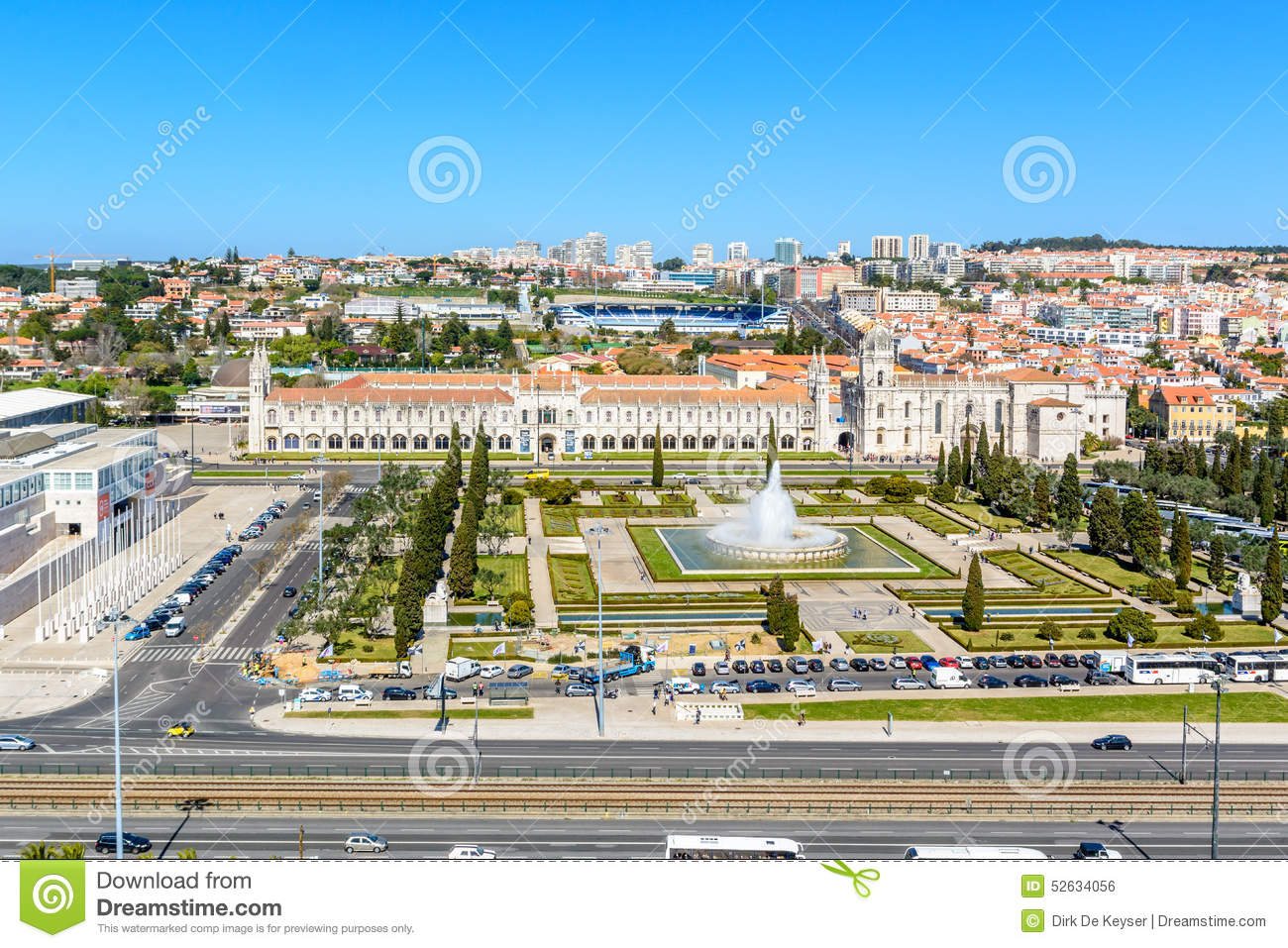 View on Belem and the Jeronimos Monastery, Lisbon