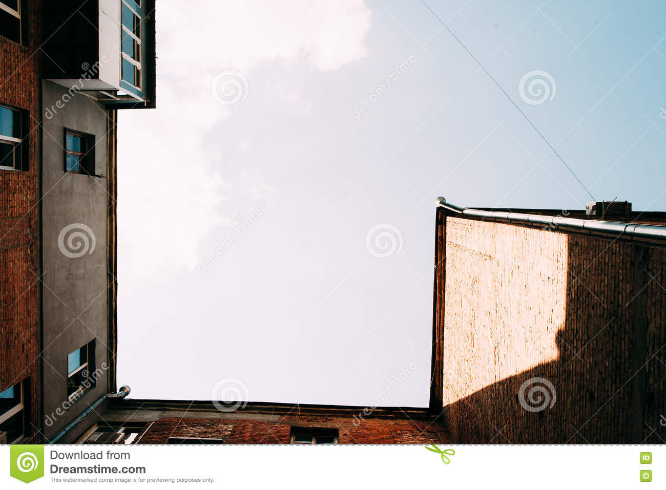 View From Below On Old Brick House With Blue Sky Stock Photo - Image ...