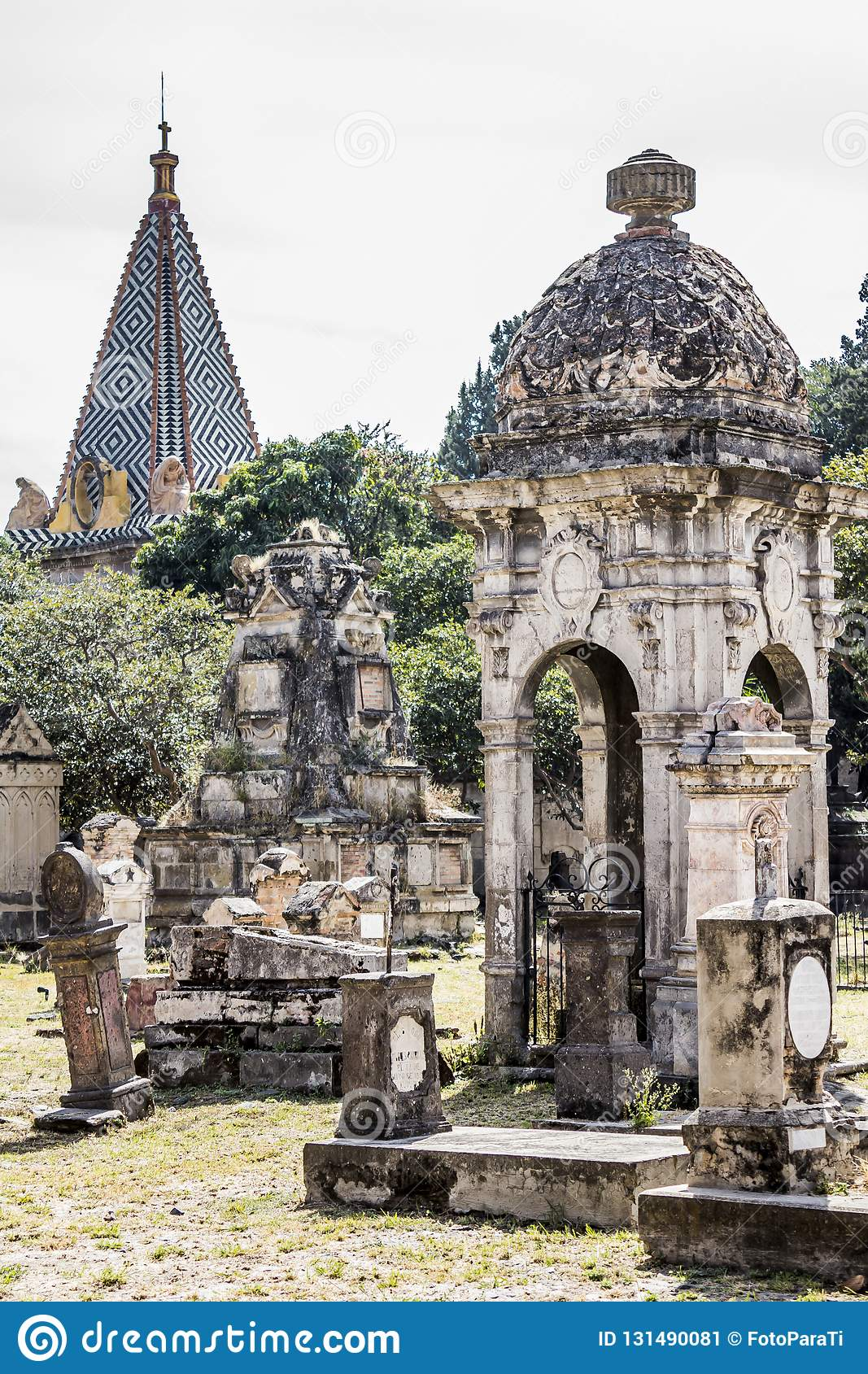 View of the big and small tombs of the cemetery of Belen