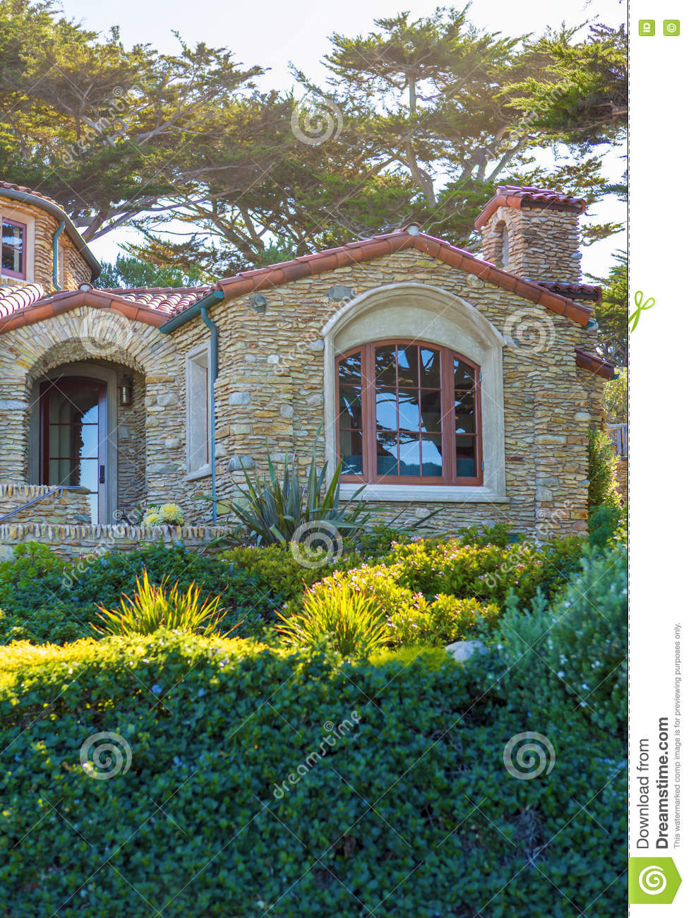 View of the big stone house with large windows stock photo for Large front windows house