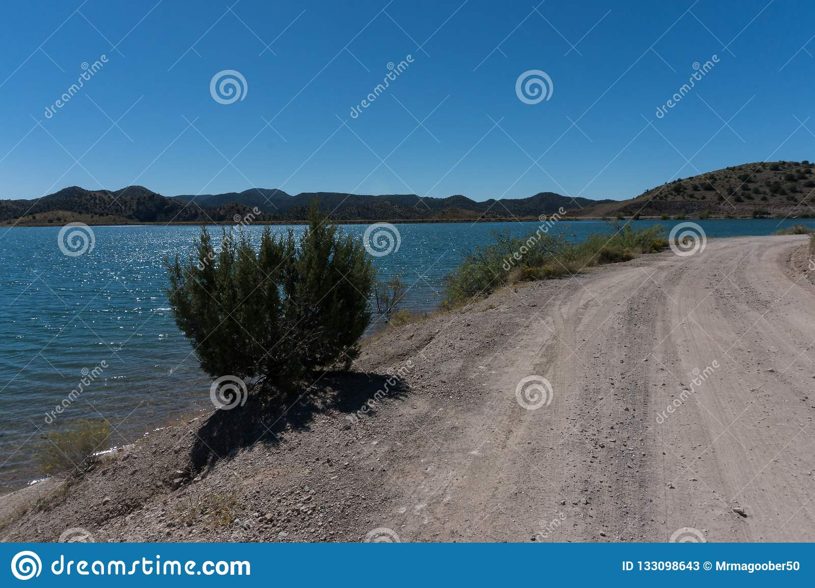 View of Bill Evans Lake roadway near Silver City in New Mexico.