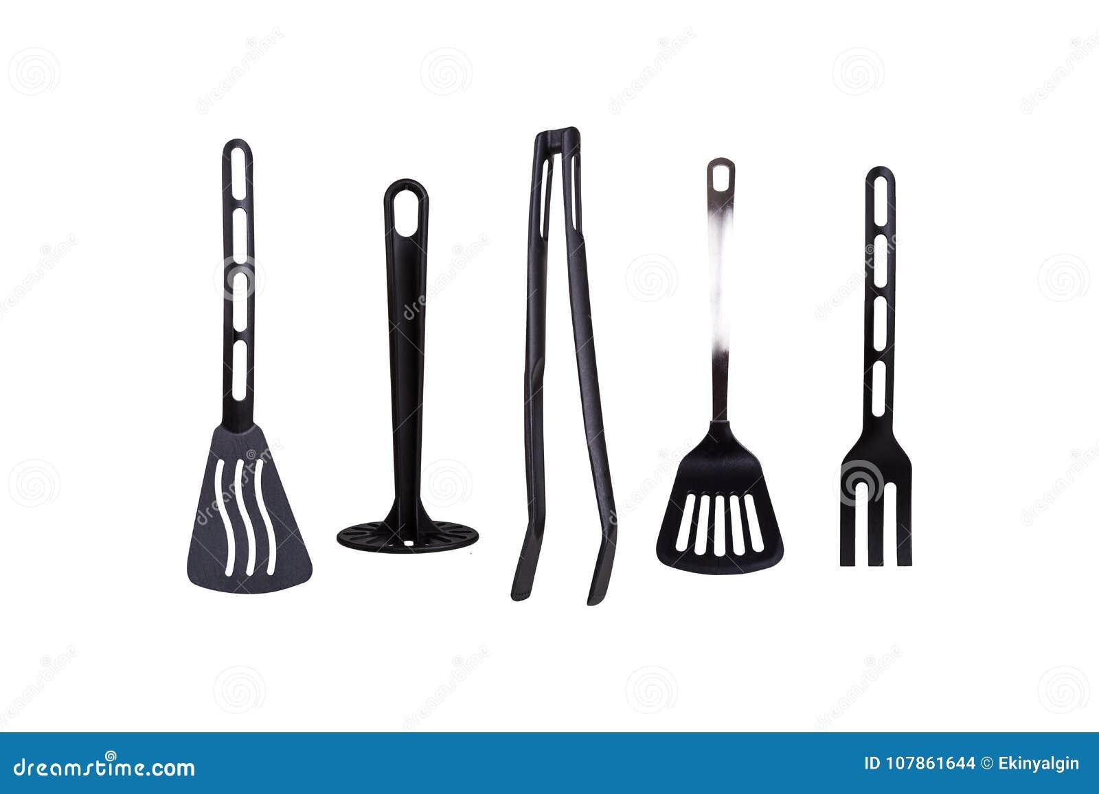 Black Plastic Kitchen Tools Stock Photo - Image of spatula, plastic ...