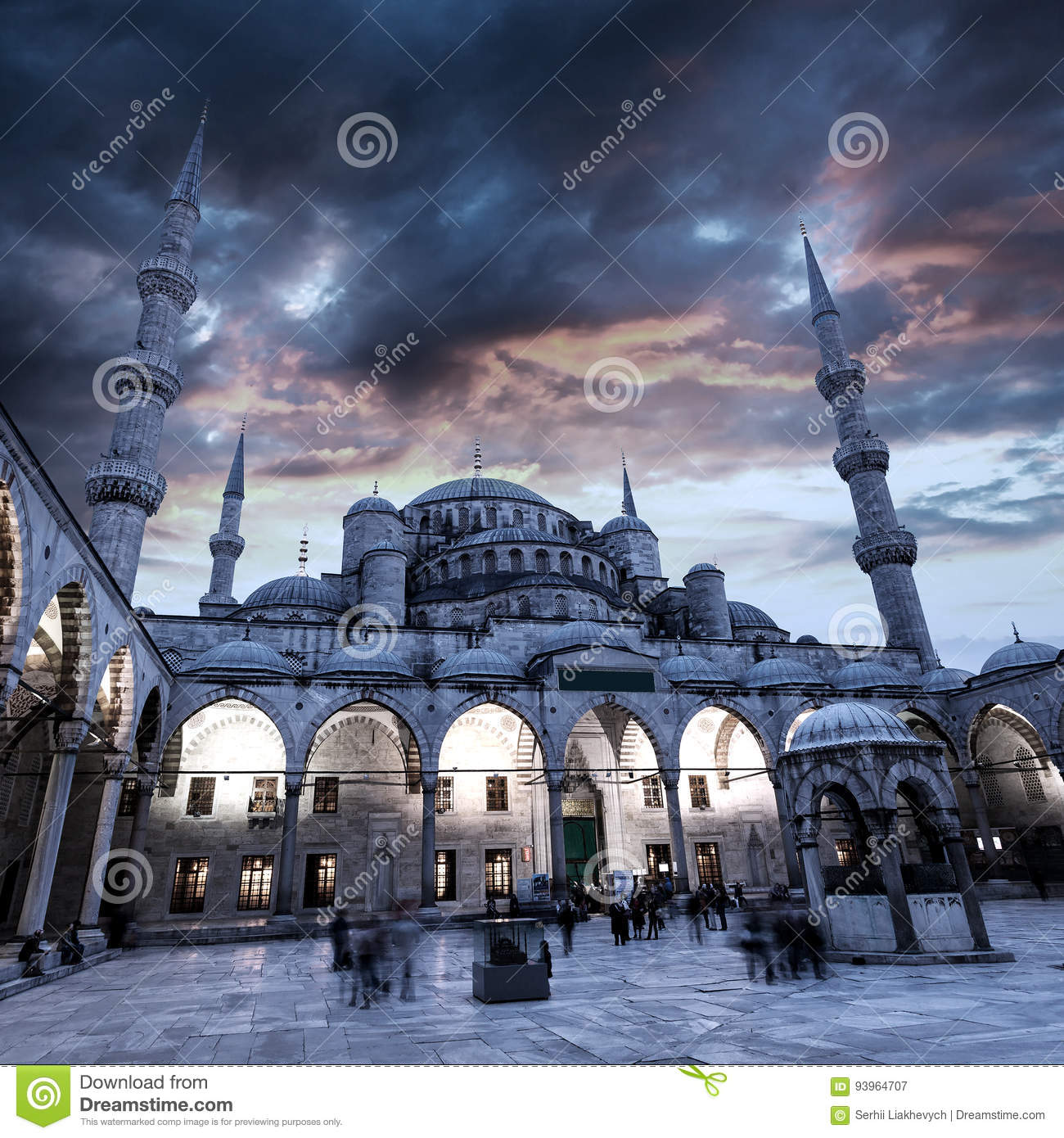 View of Blue Mosque in Istanbul with beautiful sunset sky