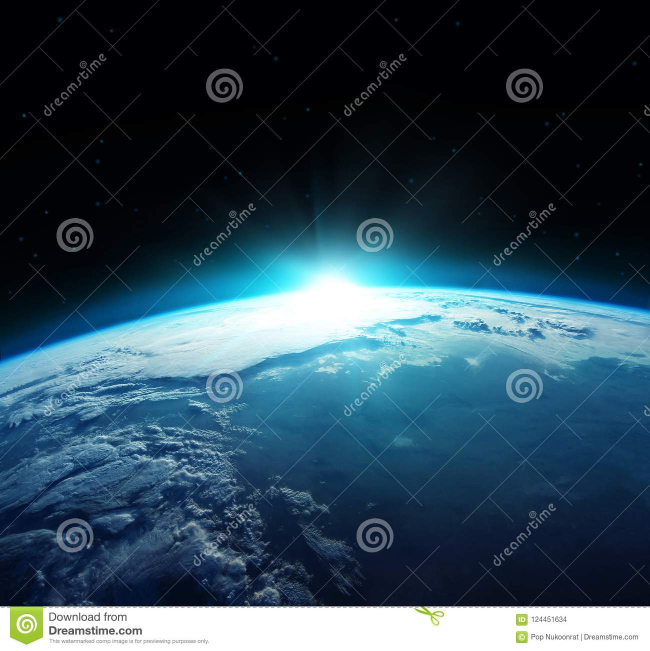 View of blue planet Earth with sun rising from space. Elements of this image furnished by NASA