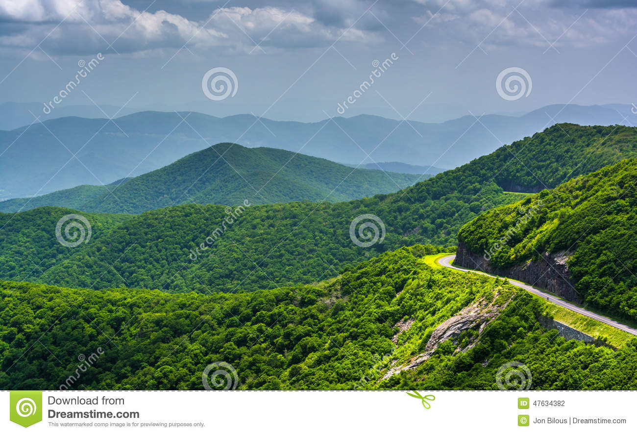 View of the Blue Ridge Parkway and the Appalachian Mountains fro