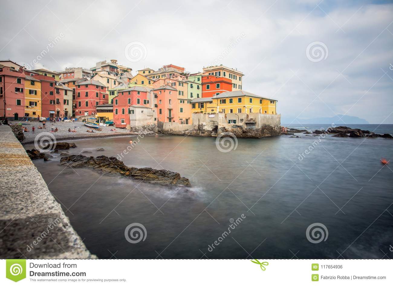 View of Boccadasse in Genoa Genova quarter, looks like a small village surrounded by a city. Italy.
