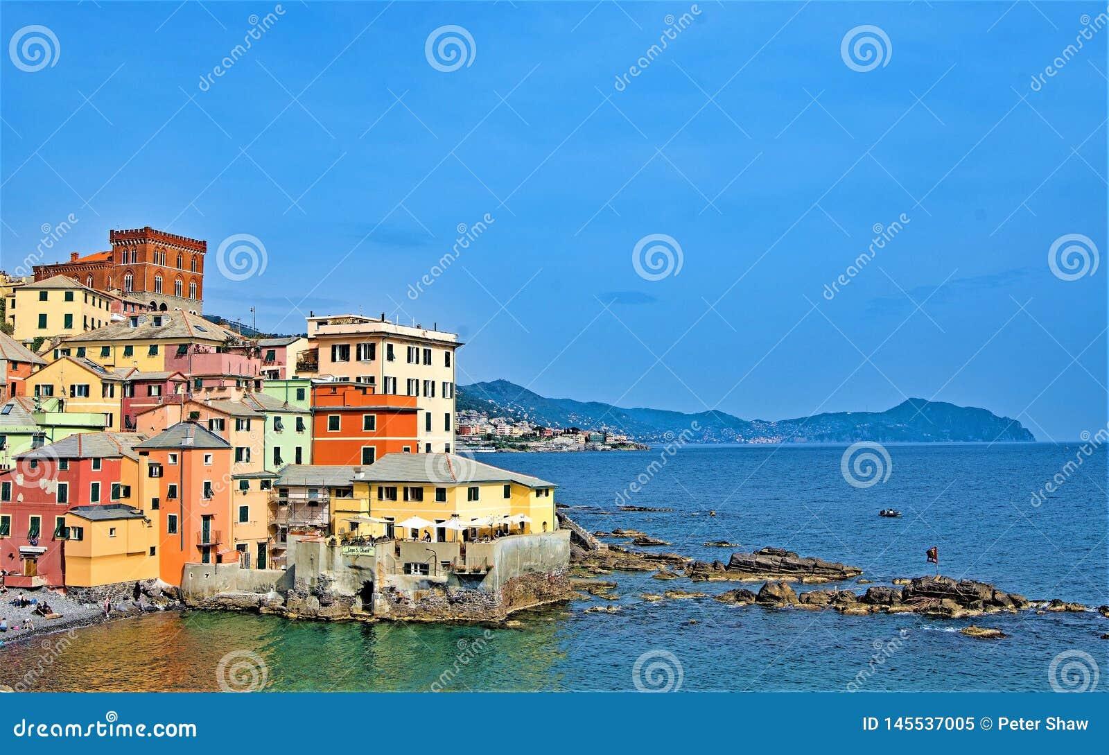 View of Boccadasse and the Ligurian sea 2, under a perfect blue sky, Genoa, Liguria, Italy 2019.