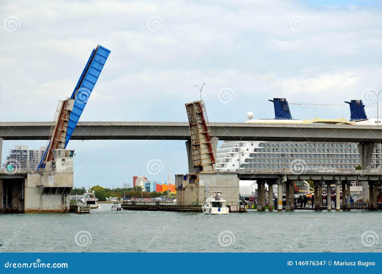 View on the bridge in Miami, California