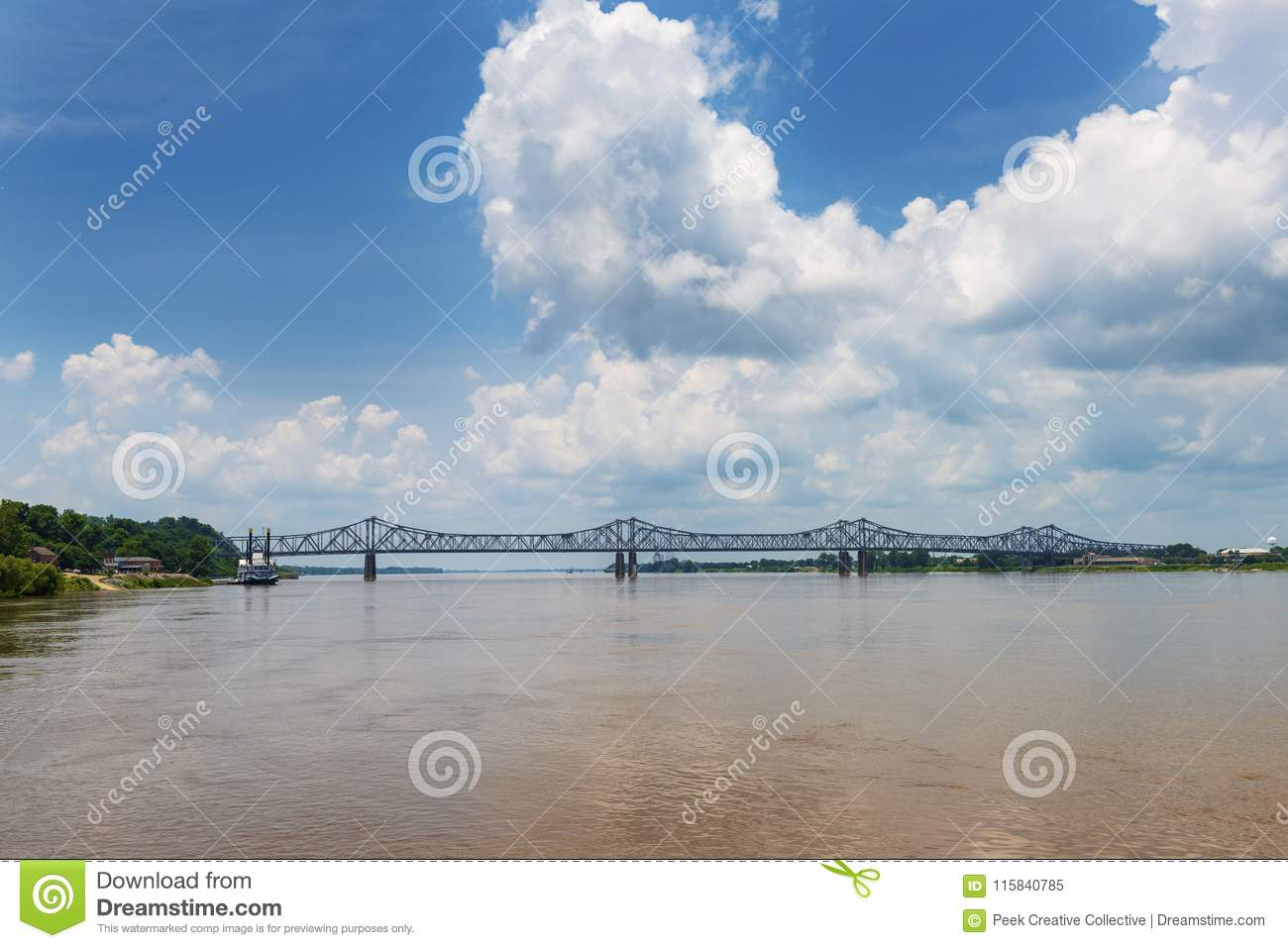 View of the bridge over the Mississippi River near the city of Natchez, Mississippi, USA;