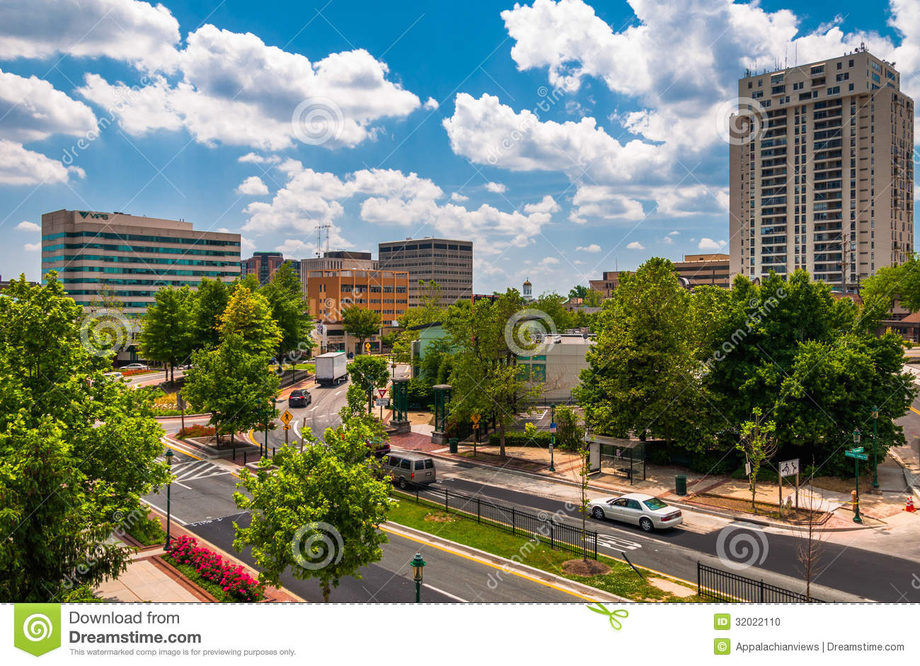 View Of Buildings And A Divided Street In Towson Md