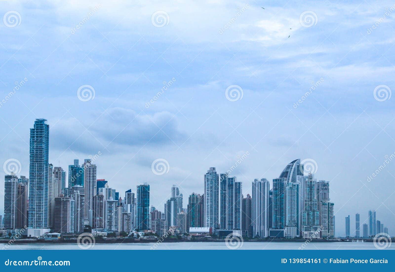 View of buildings in Panama over the ocean