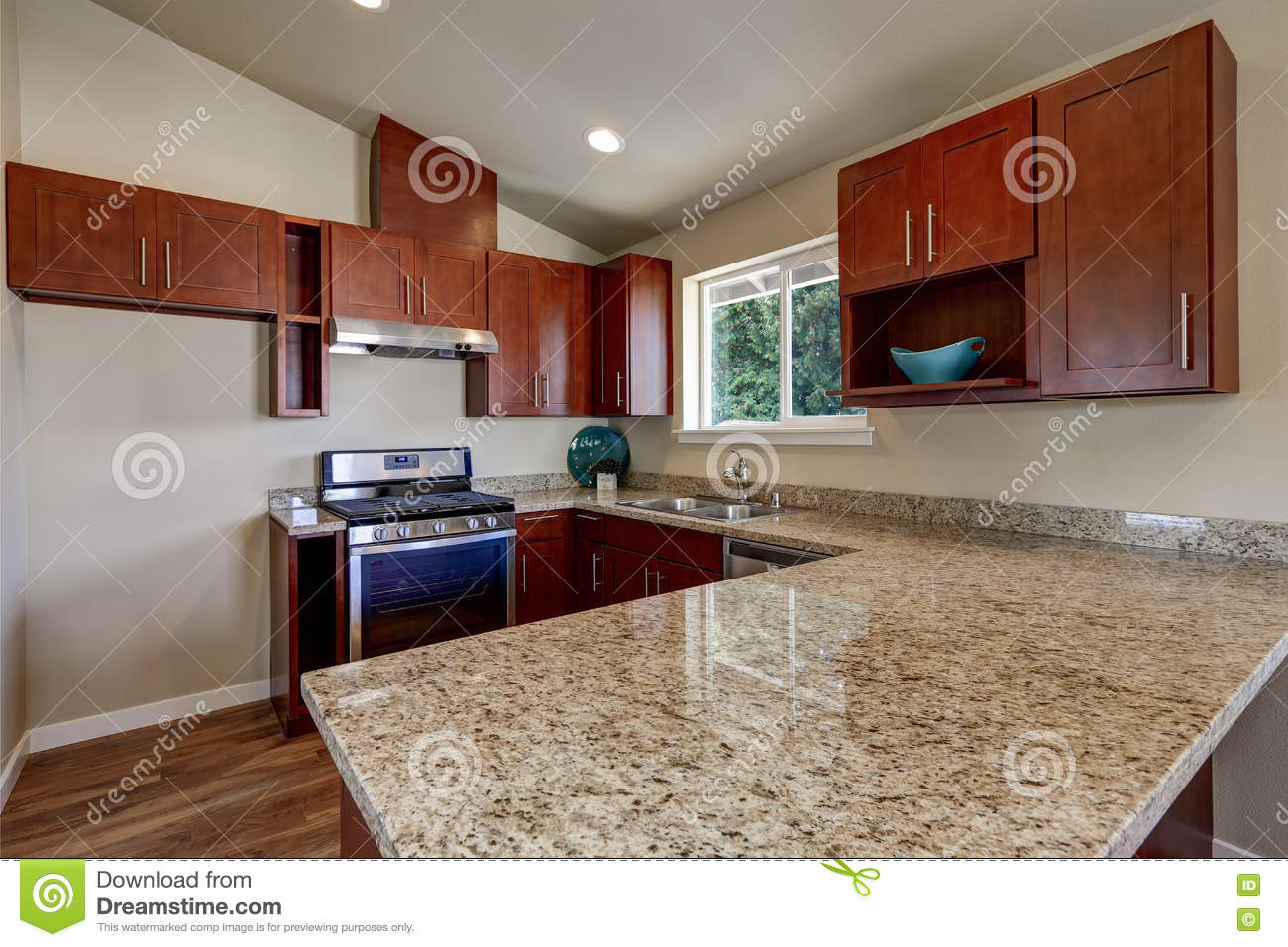 View Of Burgundy Kitchen Cabinets With Granite Counter Top