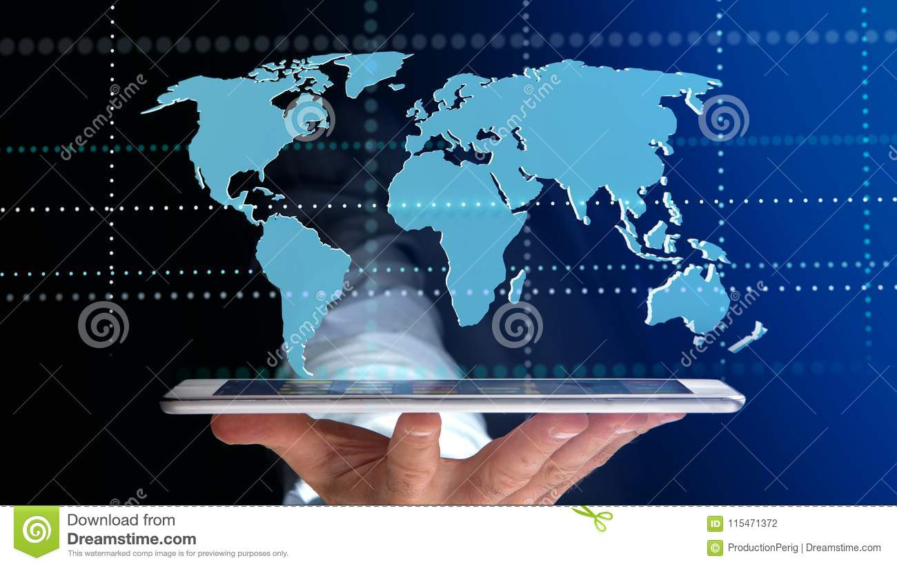 World Map 3d View.Businessman Using A Smartphone With A Connected World Map 3d R