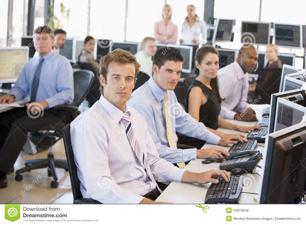 business at work royalty free stock photography view of busy stock traders office stock image image of 765