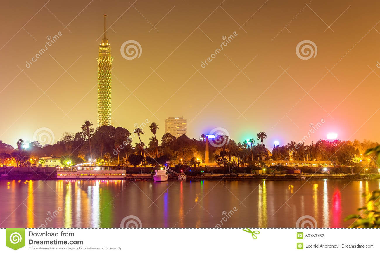 View of the Cairo tower in the evening