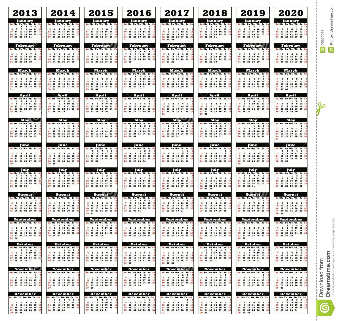 Calendar 2013-2020 2013 2020 stock illustration. Illustration of 2020, 2014   29972068