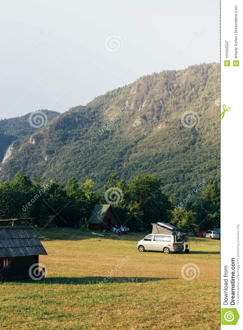 View On Camp Site And Camper Van Parked Stock Image - Image