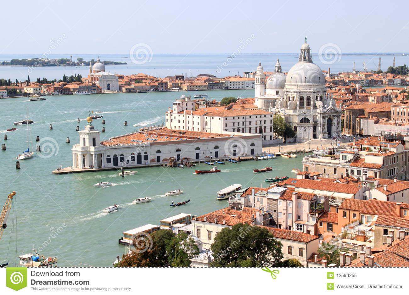View from the Campanile in Venice to south, Italy