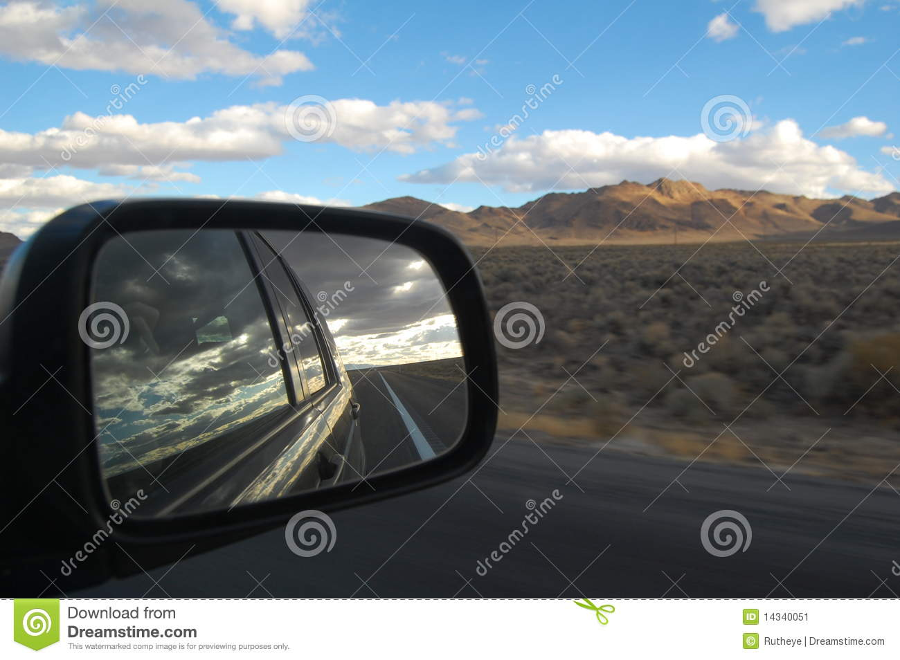 View from car mirror