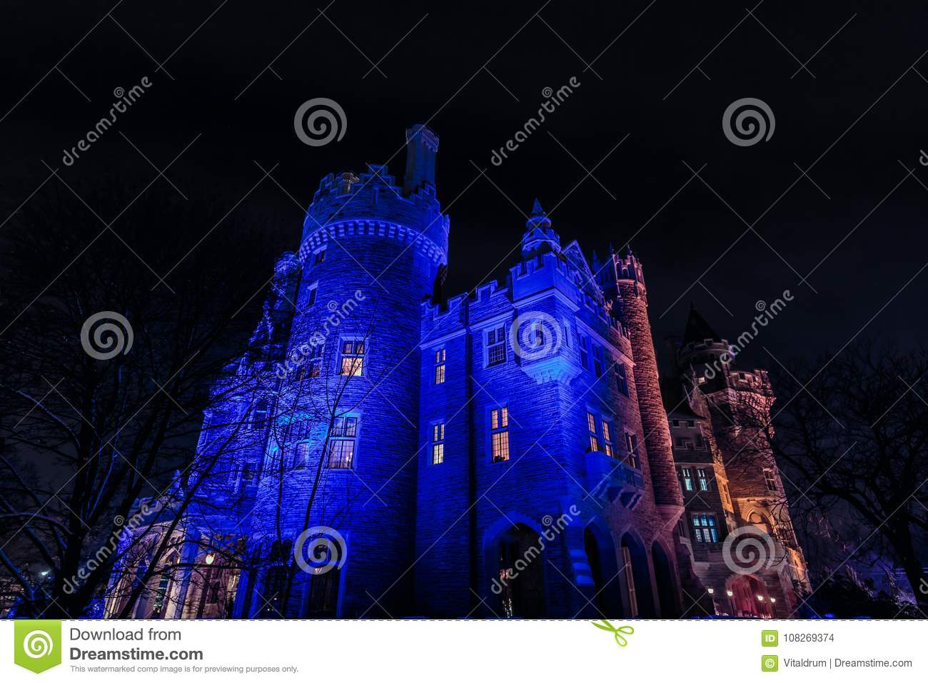 View Of Casa Loma Old Vintage Castle At Night Inviting Time Lit By