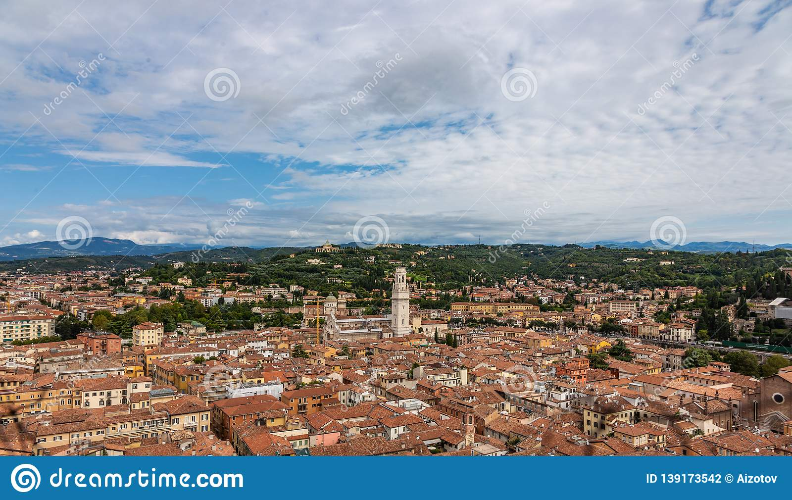 View from the Cathedral of Verona Column on the old town in aerial view, Italy