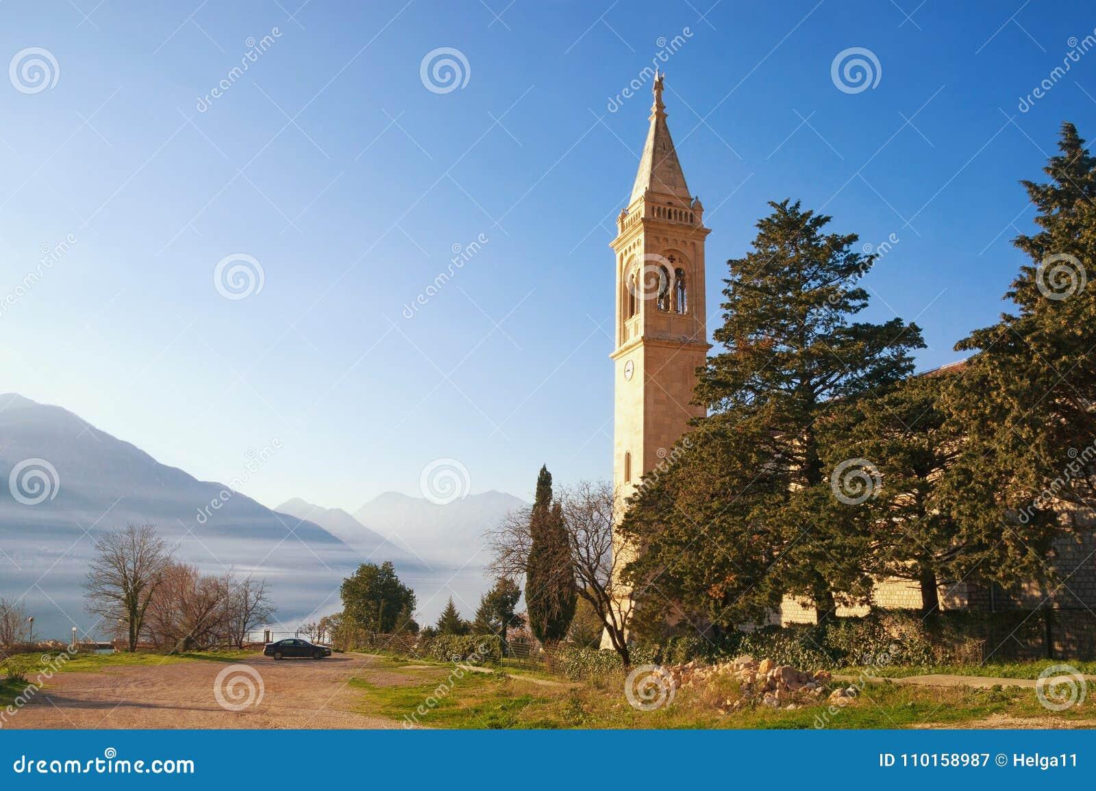 view of catholic church of saint eustace on coast of bay of kotor