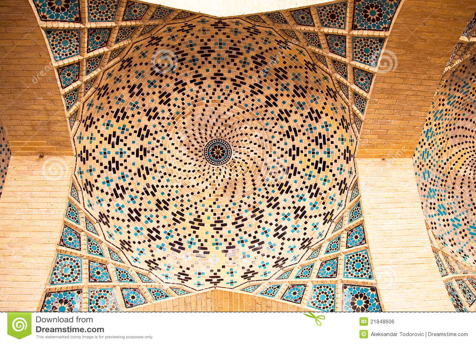 View Of Ceiling Nasir Al Mulk Mosque Royalty Free Stock