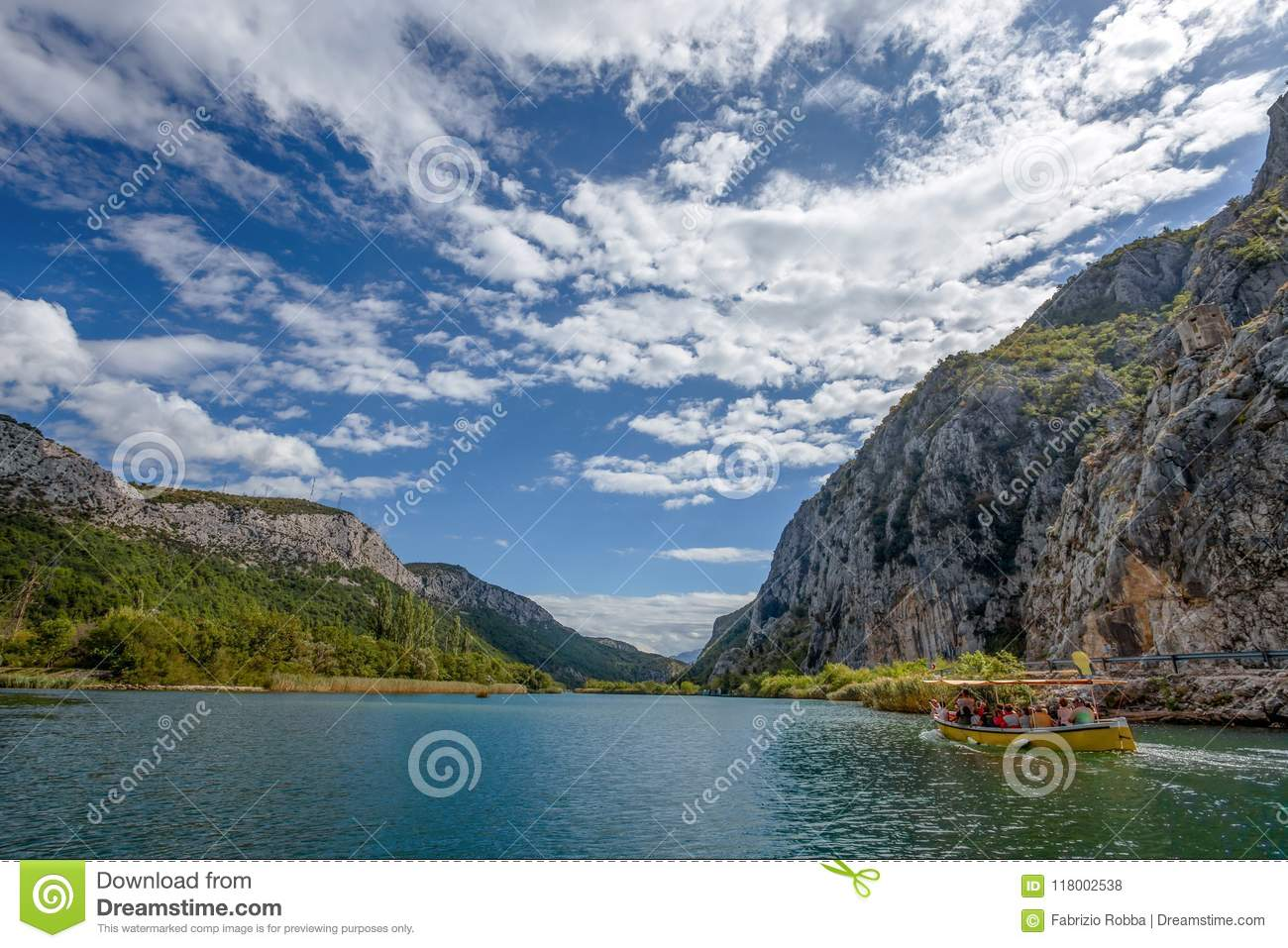 View of Cetina river around Omis Almissa city, Dalmatia, Croat