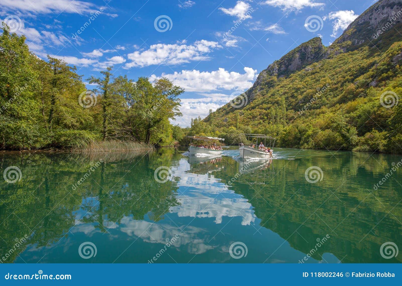 View of Cetina river around Omis Almissa city, Dalmatia, Croatia/ Europecanyons/river/green/mountains