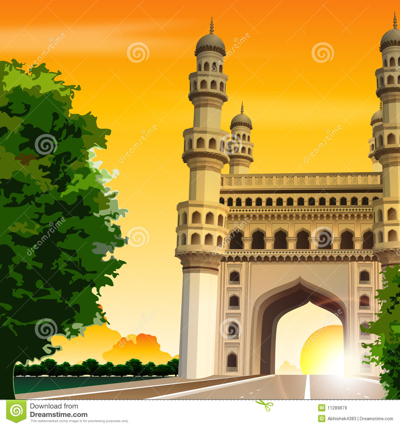 view of charminar hyderabad india travel road stock illustration illustration of sunrise. Black Bedroom Furniture Sets. Home Design Ideas