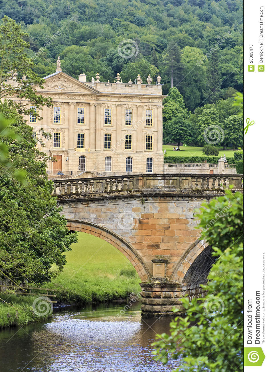 Chatsworth House History: A View Of Chatsworth House, Great Britain Editorial Image