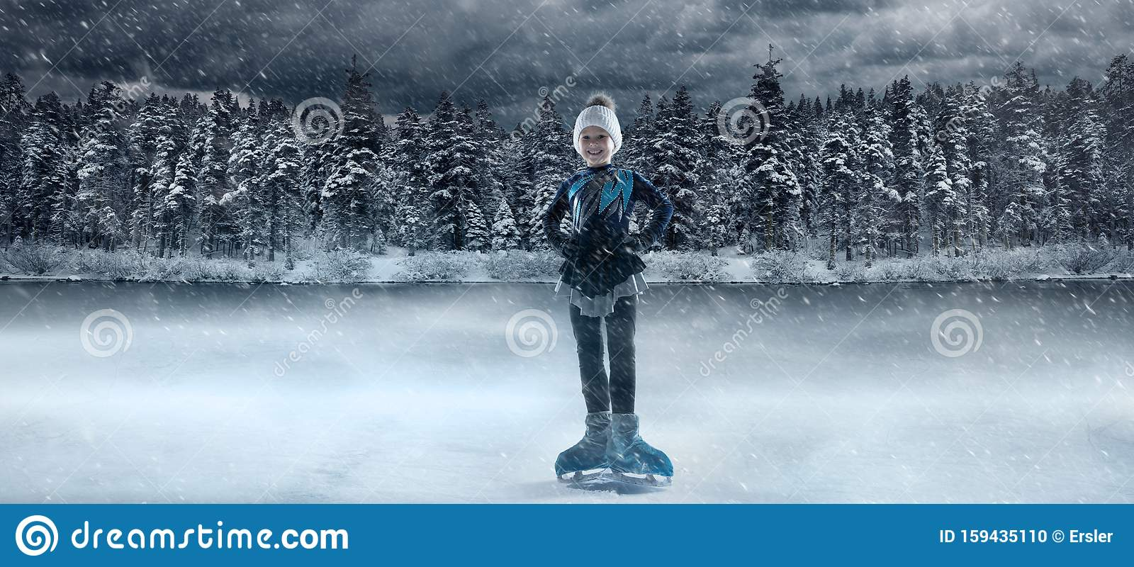 View of child figure skater on winter lake