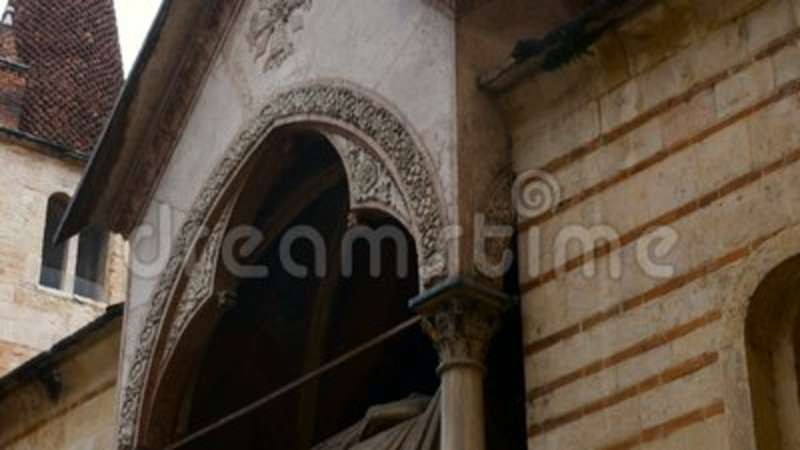 View on church of Santa Maria Antica is a Romanesque church located in the historic center of Verona. Italy stock video footage