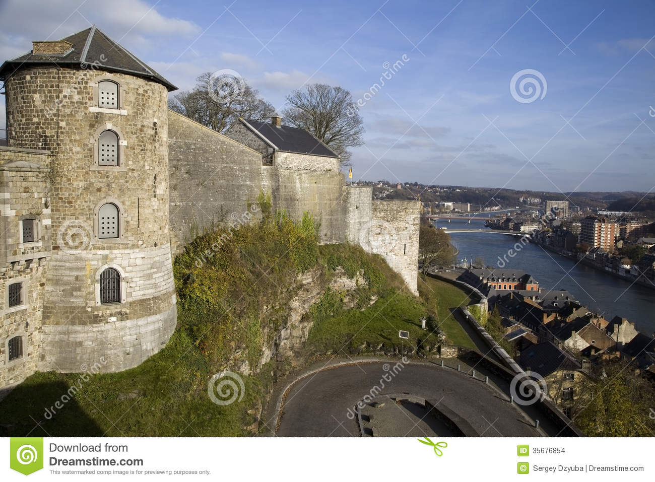 View On Citadel And Meuse River In Namur Stock Images