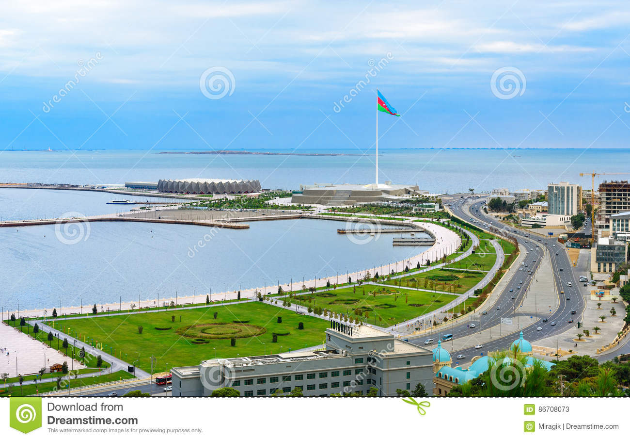 View of the city Baku and National Flag Square