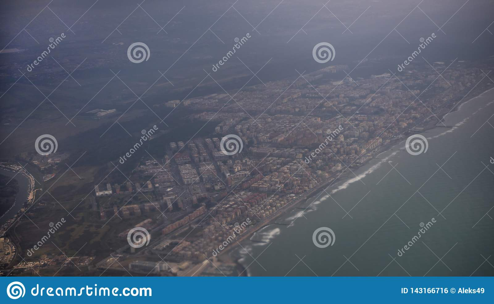 View of the city of Fiumicino from the aircraft