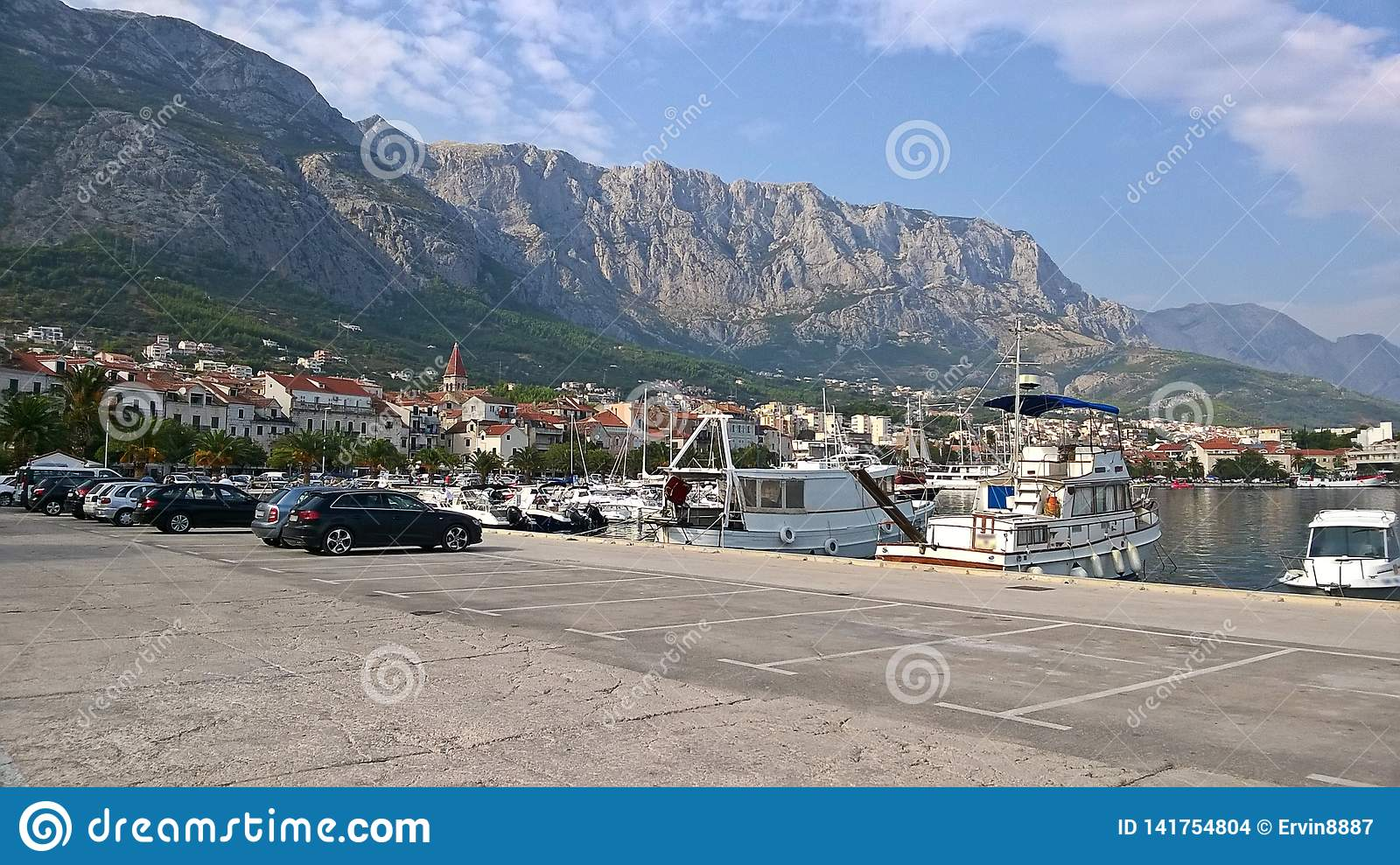 View of the city and the harbor in Makarska,Croatia. It is one of the most visited cities of Croatia