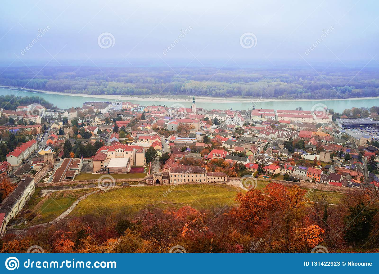 View of the city of Highburg on the Danube from the top. Austria, Europe.