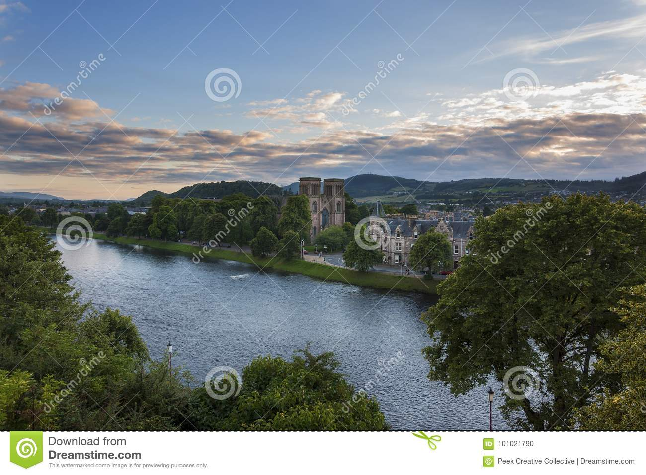 View of the city of Inverness from the banks of the Ness River in Scotland, United Kingdom