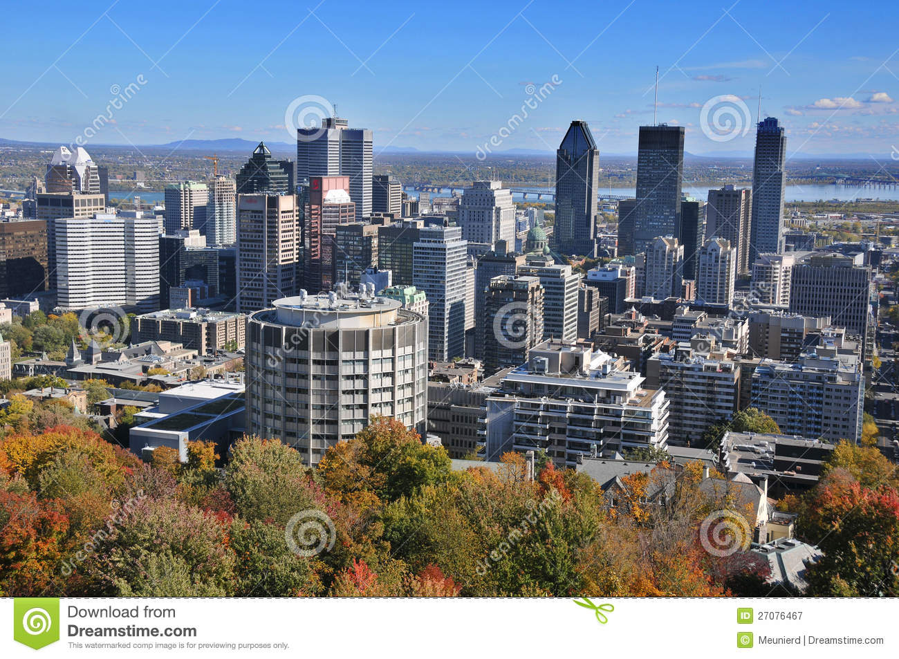 The view of the city of Montreal