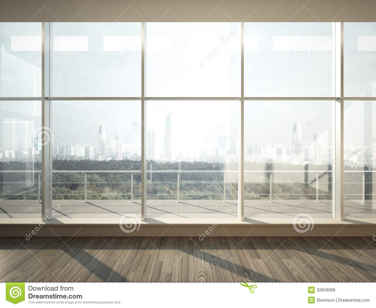 View Of City From Wide Window Royalty Free Stock Photos